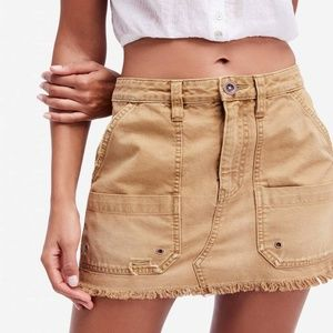Free People Canvas Relaxed Mini Skirt in Khaki